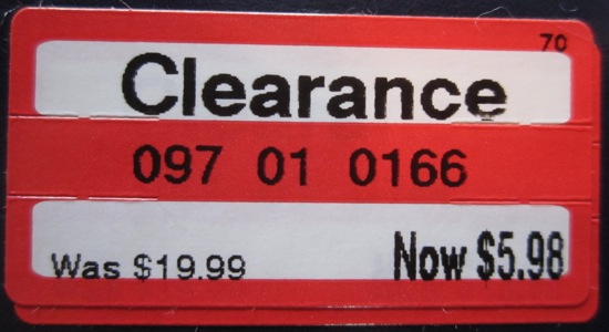 Target clearance sticker
