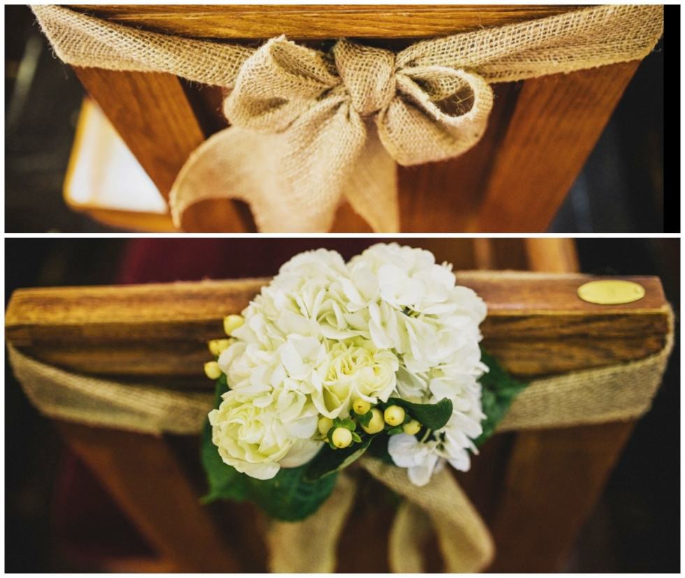 Burlap bows for the guest pews and floral bows for the family pews.